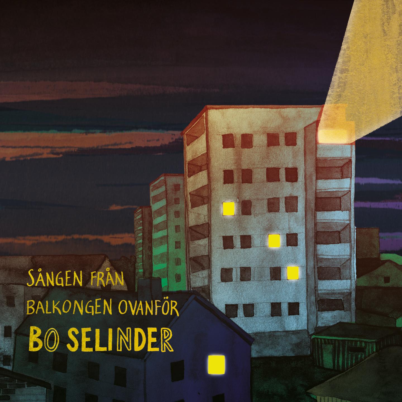 Skivomslaget. En stad en sen kväll, ett höghus med starkt ljus från en av balkongerna.